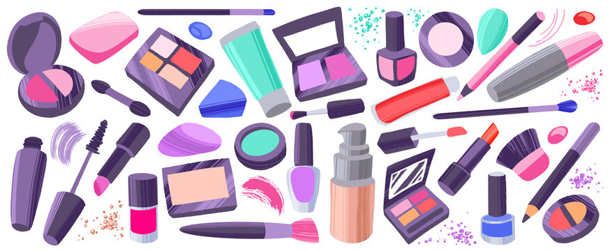 Makeup items set. Hand drawn colorful cosmetic elements.