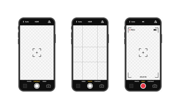Mobile phones with camera interface. Mobile app application. Photo and video screen. Vector illustration graphic design