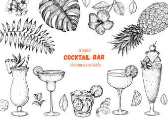 Alcoholic cocktails hand drawn vector illustration. Cocktails sketch set. Engraved style. Tropical collection. Pina colada, margarita, caipiroska, daiquiri, singapore sling.