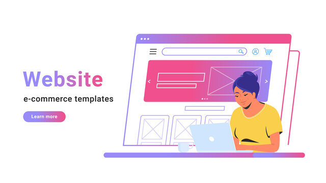 Website e-commerce template to create electronic store online. Creative vector illustration of cute woman working with laptop, building her own website for selling goods or personal site with banner.