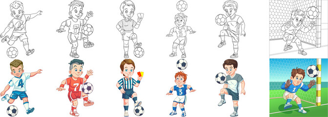 Coloring pages. Cartoon clipart set for kids activity coloring book, t shirt print, icon, logo, label, patch or sticker. Vector illustrations.
