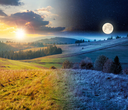 day and night time change concept above forest in red foliage. trees with branches with red foliage in forest. hillside in mountains with high peak in the distance with sun and moon