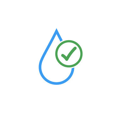 Clean drinkable water vector logo with checkmark. Clean water. Stock Vector illustration isolated on white background.