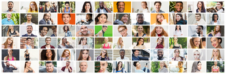 Collage of diverse multiethnic candid people smiling over colorful background