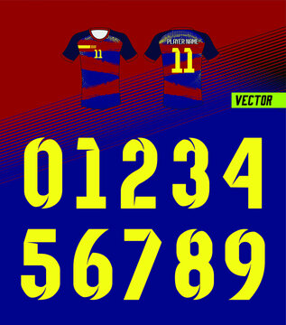 Sport Jersey shirt number/ Uniform numbers in yellow on navy blue backgrounds  for American football, Baseball and Basketball or soccer for shirt