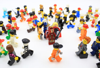 HONG KONG,MARCH 22: the avengers, Studio shot of Lego people in office in hong kong on 22 march 2015. Legos are a popular line of plastic construction toys manufactured by The Lego Group in Denmark