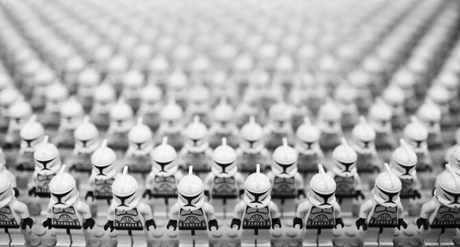 Taichung, Taiwan - April 5, 2015:minifigures of star wars troopers. Lego minifigure are the successful line in Lego products