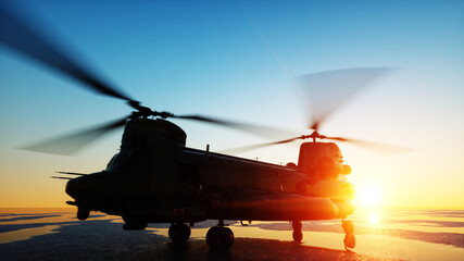 Military helicopter chinook, wonderfull sunset. 3d rendering.