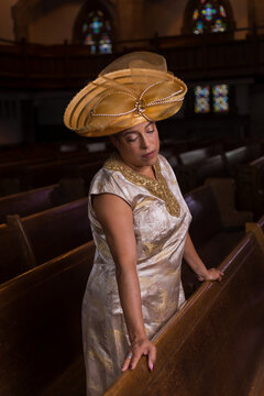 Woman standing in church