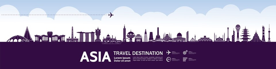 Asia travel destination grand vector illustration.  - fototapety na wymiar