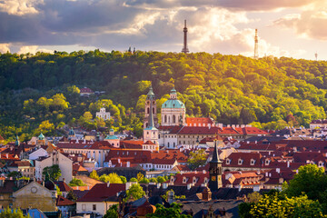 Scenic view on Vltava river and historical center of Prague, buildings and landmarks of old town,...