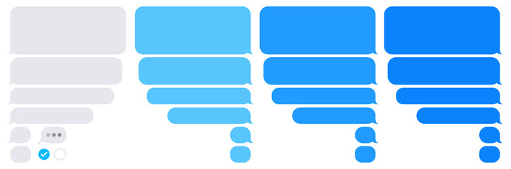 Editable phone chat with text bubbles set - Isolated sms dialogue and message bubbles templates – Flat vector EPS10 illustration on white background