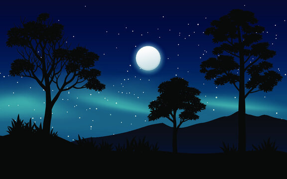 night landscape with tree and moon