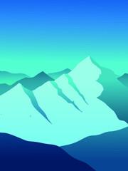 Printed kitchen splashbacks Green coral mountain landscape vector