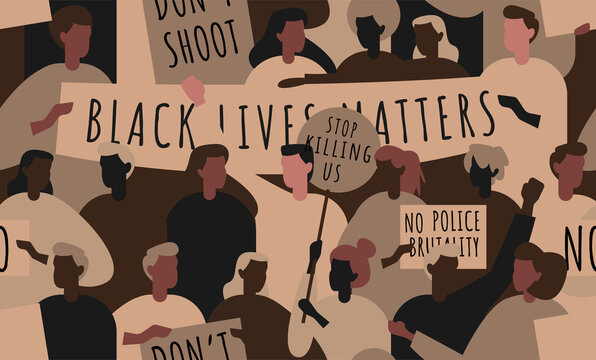 Seamless pattern with abstract silhouettes of people protesting against racism and police brutality. Poster says: black lives matter, no police brutality, can't breathe.