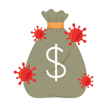 money bag with virus design of bankruptcy and covid 19 virus theme Vector illustration