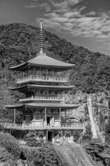 Fototapete - Scenic view of pagoda of Seiganto-ji Temple with Nachi no Taki waterfall in background at Nachi Katsuura, Wakayama, Japan