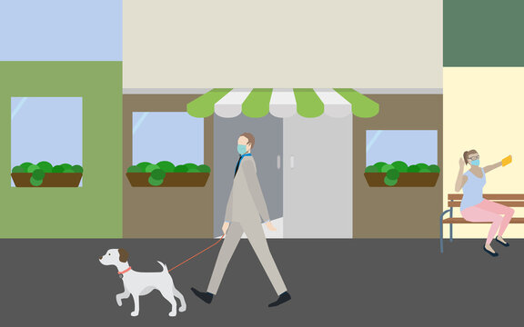 Solo outdoor activities concept. brisk dog walking and relaxing with mask. New normal after covid-19 coronavirus pandemic