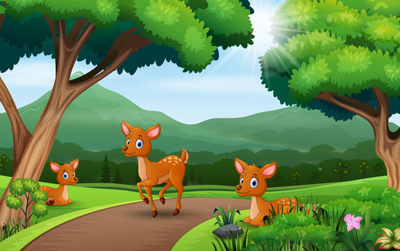 Cartoon three deers playing at the nature