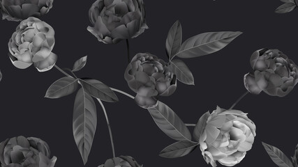 Floral seamless pattern, black roses on dark grey