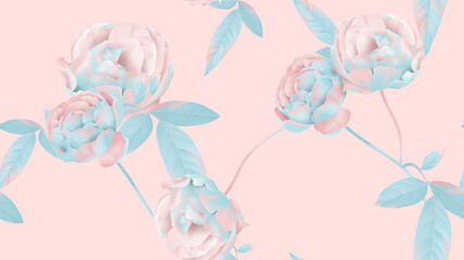 Floral seamless pattern, pastel roses on pink