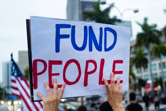 Fund people poster on the demonstrations in the USA and protests against racism.