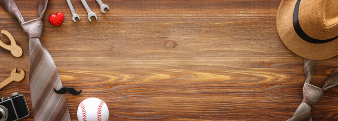 Father's day concept over wooden background. top view, flat lay