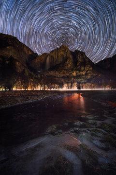 Star trail in Yosemite National Park