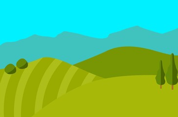 Poster Turquoise landscape with green hills and blue sky