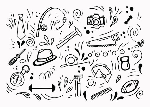 Doodle-style set for Father's Day. Hand-drawn set of masculine items. White background, isolate.