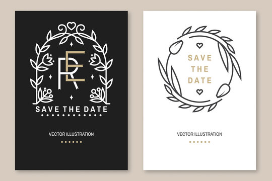 Wedding invitation card template. Vector Thin line geometric badge. Outline icon for save the date invitation card design. Modern minimalist design with wedding arch and leaf, flowers decor
