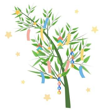 笹の葉と星と短冊の七夕イラスト