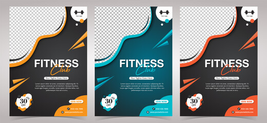Fitness Club Gym, body building and gym flyer template with Photo Space