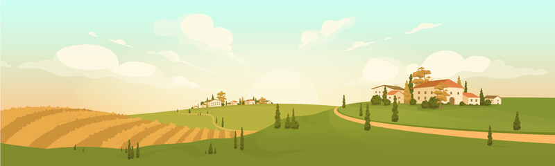Autumn in hilltop village flat color vector illustration