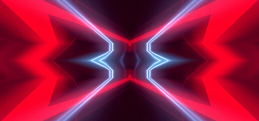 Wall Mural - Abstract dark background, red neon light. Rays and lines in symmetrical reflection. Light tunnel, movement at speed, neon lights.