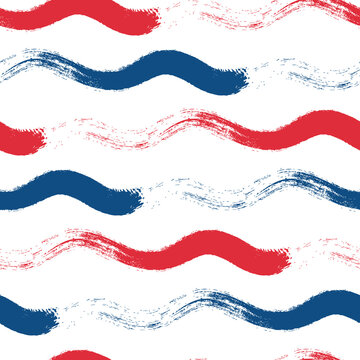 Wavy line seamless vector pattern background. Hand drawn coarse brush stroke horizontal ocean wave red blue white backdrop. Marine geometric stripe all over print. For nautical, water, sea concept.