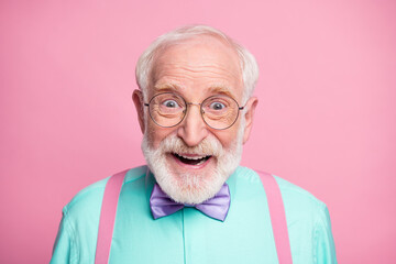 Closeup photo of attractive funky cool clothes grandpa positive facial expression toothy smile wear...