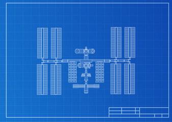 International Space Station plot on blueprint background. Vector illustration.