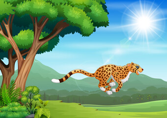 Cartoon cheetah jumping in the nature landscape