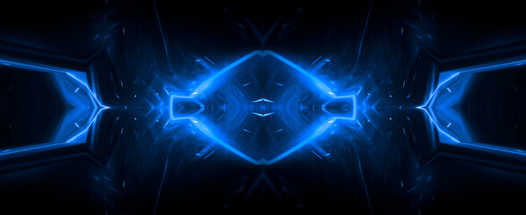 Fotomurales - Abstract blue dark background with lines and rays. Symmetric reflection of neon light. Light tunnel, sparks. The movement of light. Night view.