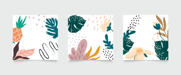 Social media stories and post creative vector set. Abstract shapes background template with floral and copy space for text and images. Vector illustration.