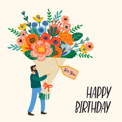 Happy Birthday. Vector illustration of cute man with bouquet of flowers.