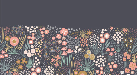Flower meadow seamless vector border. A lot of florals in pink, gold, white, teal on dark background repeating horizontal pattern. Doodle line art for fabric trim, footer, header, fall autumn decor