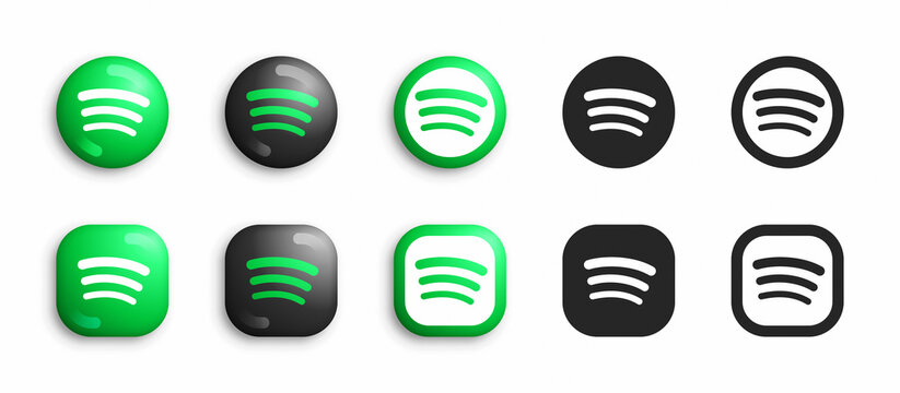 Spotify Vector Icons Set In Modern 3D And Black Flat Style Isolated On White Background. Popular Audio Podcast And Music Service App And Website Spotify Logo In Different Styles