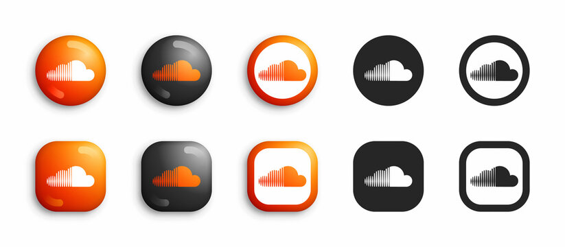 Soundcloud Vector Icons Set In Modern 3D And Black Flat Style Isolated On White Background. Popular Online Music Service App And Website Soundcloud Logo In Different Styles