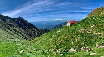 Mountain hut in italian Alps, Europe.
