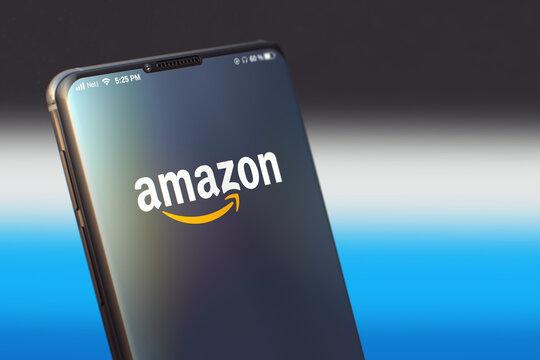 KYIV, UKRAINE-JUNE, 2020: Amazon Mobile Application on the Smart Phone Screen. Close-up Studio Shot of Smartphone with Amazon Application.