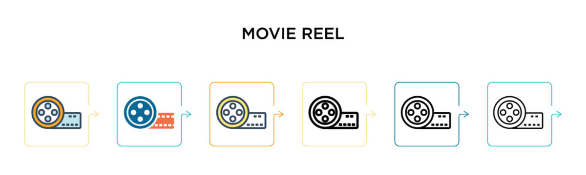 Movie reel vector icon in 6 different modern styles. Black, two colored movie reel icons designed in filled, outline, line and stroke style. Vector illustration can be used for web, mobile, ui