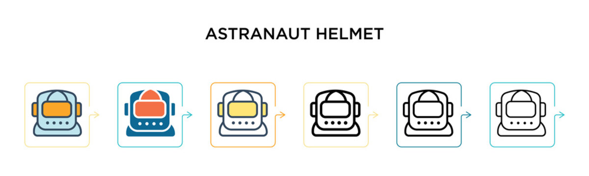 Astranaut helmet vector icon in 6 different modern styles. Black, two colored astranaut helmet icons designed in filled, outline, line and stroke style. Vector illustration can be used for web,