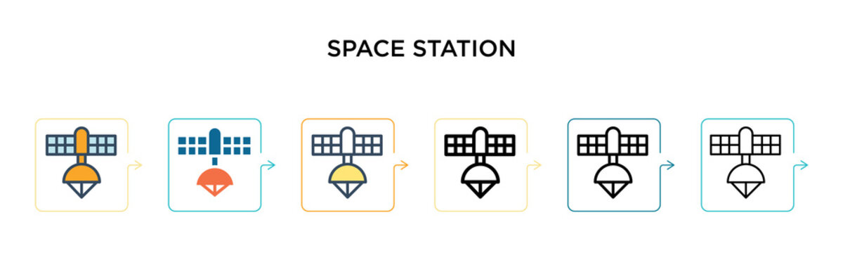 Space station vector icon in 6 different modern styles. Black, two colored space station icons designed in filled, outline, line and stroke style. Vector illustration can be used for web, mobile, ui